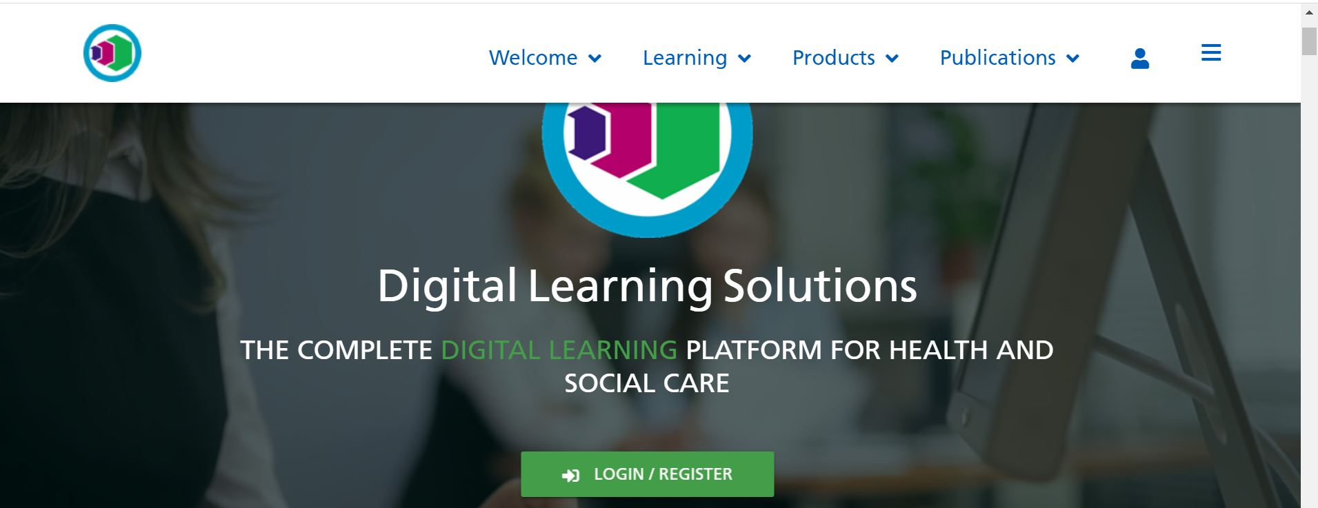 Digital Learning Solutions Logo and Log In Screen
